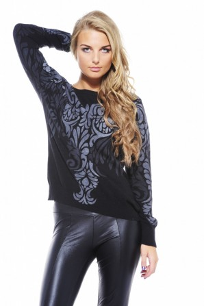 Grey and Black Printed Jumper