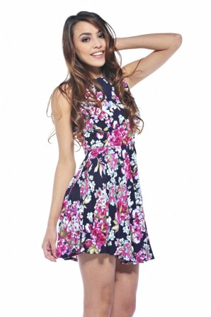 Floral Summer Skater Navy Dress