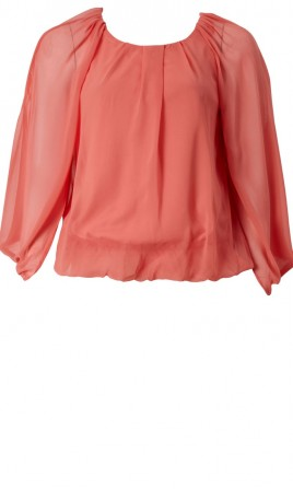 Wide Sleeve Coral Top