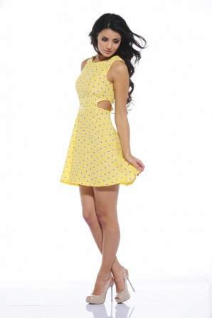 Daisy Printed Cut Out Yellow Dress