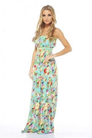 Floral Elasticated Strapless Aqua Maxi