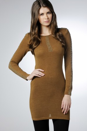 Studded Sleeve Knitted Dress