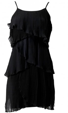 Layered Pleated Black Dress