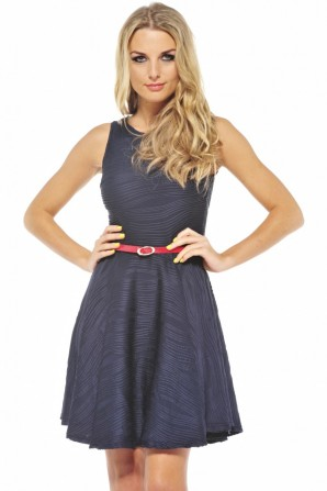Ripple Skater Belted Dress