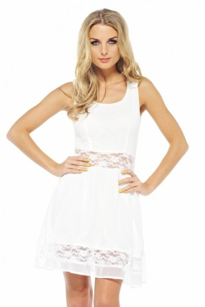 Chiffon Lace Cut Out Skater Cream Dress