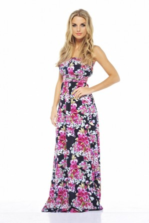 Floral Elasticated Strapless Navy Maxi