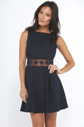 Crochet Waist Skater Navy Dress