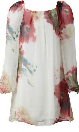 Abstract Poppy Print Cream Smock