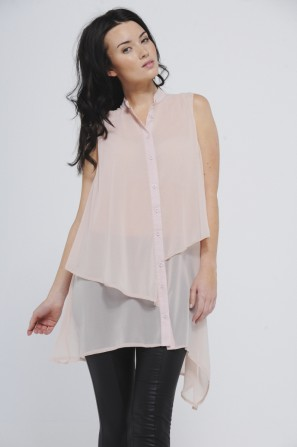 Chiffon Drop Back Sleeveless Top