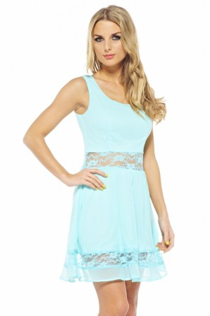 Chiffon Lace Cut Out Skater Aqua Dress