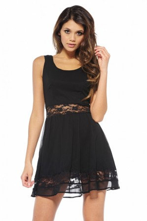 Chiffon Lace Cut Out Skater Black Dress