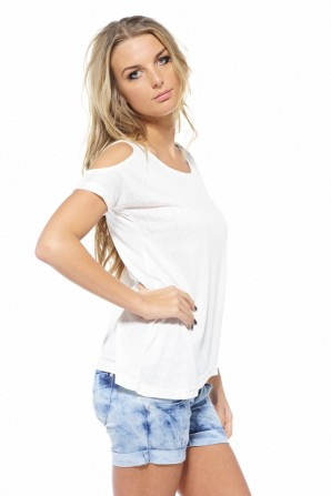 Shoulder Cut Out Cream Top