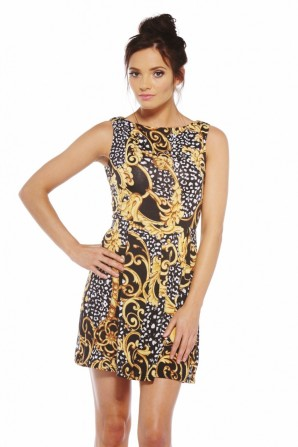 Baroque Print Skater Dress