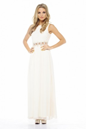 Chiffon Embellished Waist Maxi Cream Dress