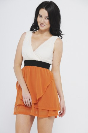 Layered Skirt V Front Orange Dress