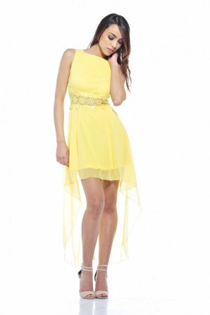 Sequin Crochet Waist Drop Back Yellow Dress