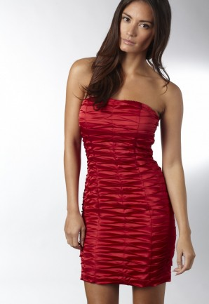 Ruched Detail Red Dress