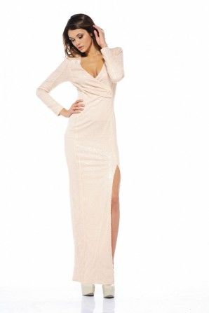 Sequin Split Maxi Nude Dress