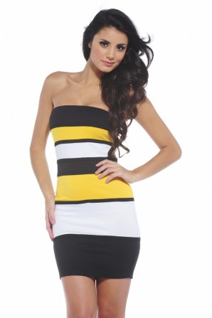 Yellow Color Block Bodycon Dress